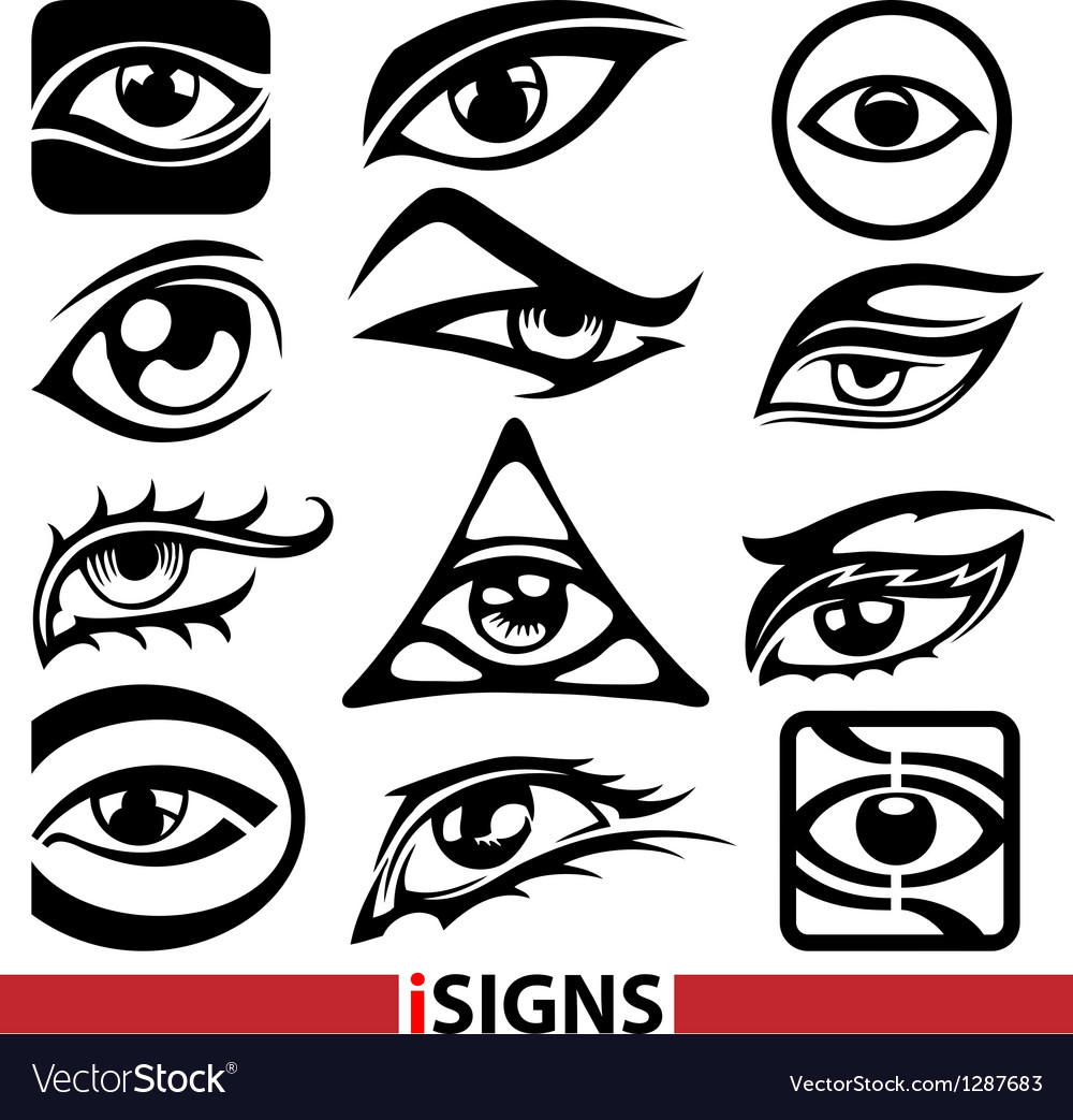 Eye signs and icons set vector image