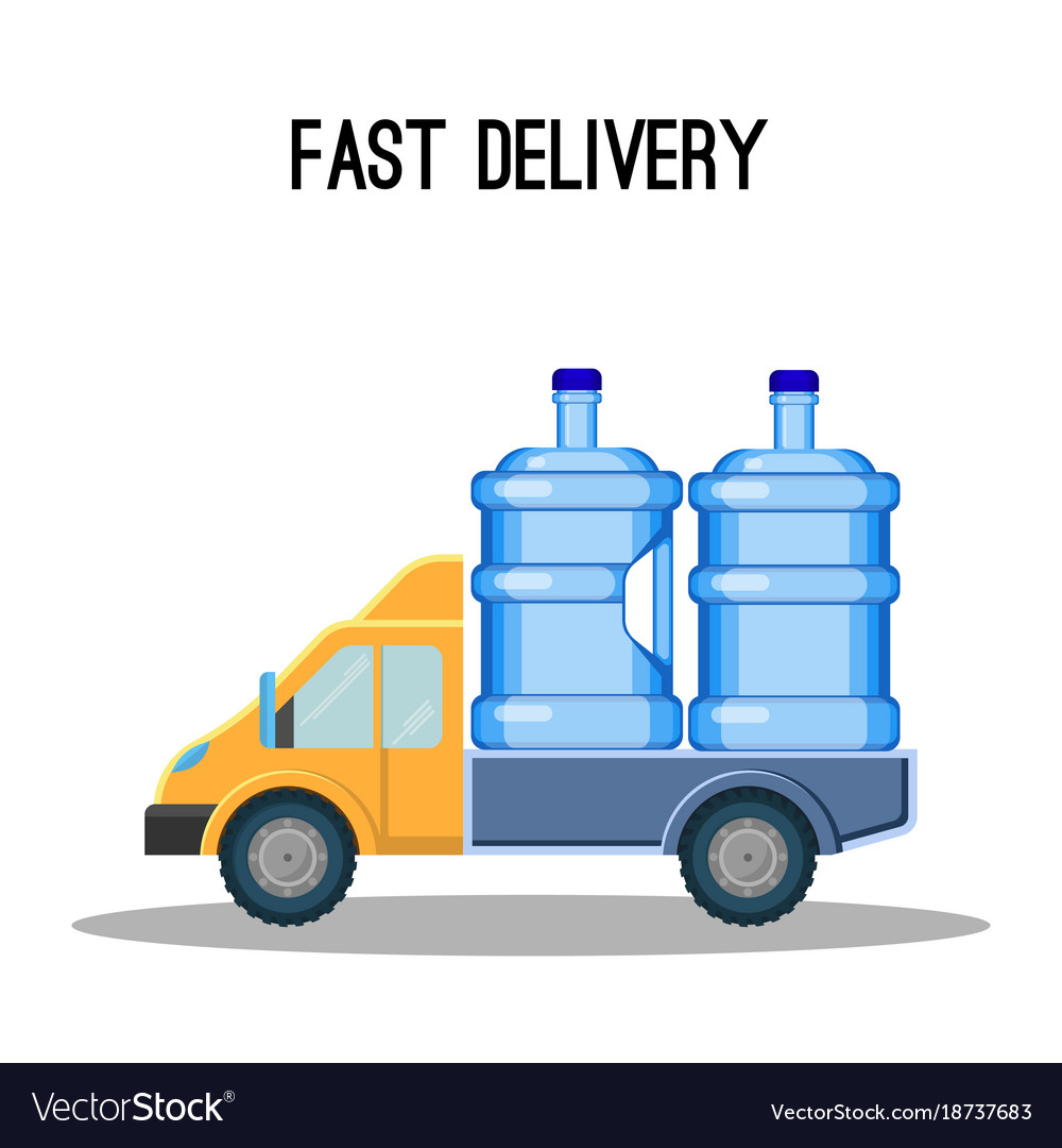 Fast delivery promo poster with trunk that carries