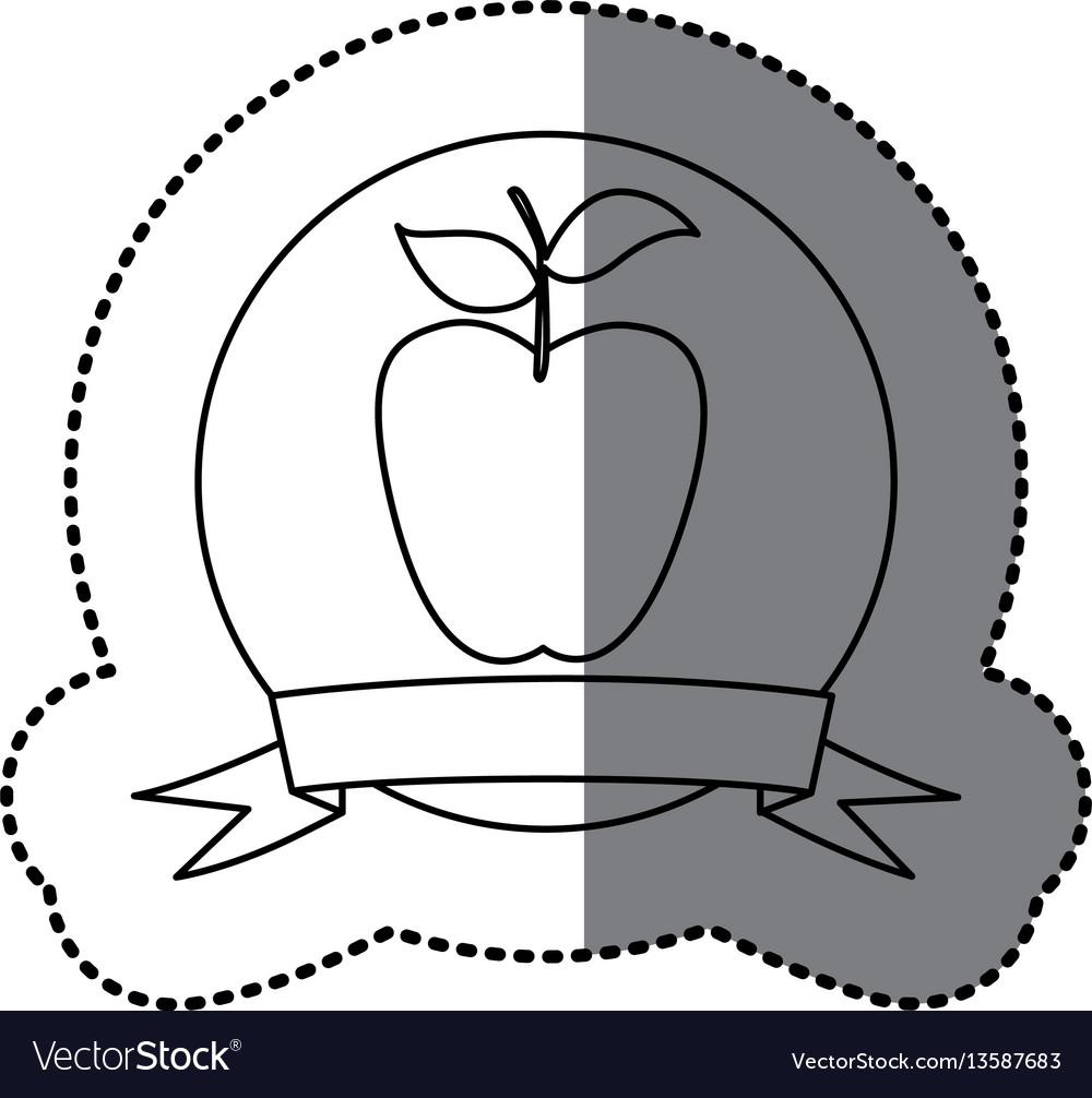 Figure emblem long apple fruit icon