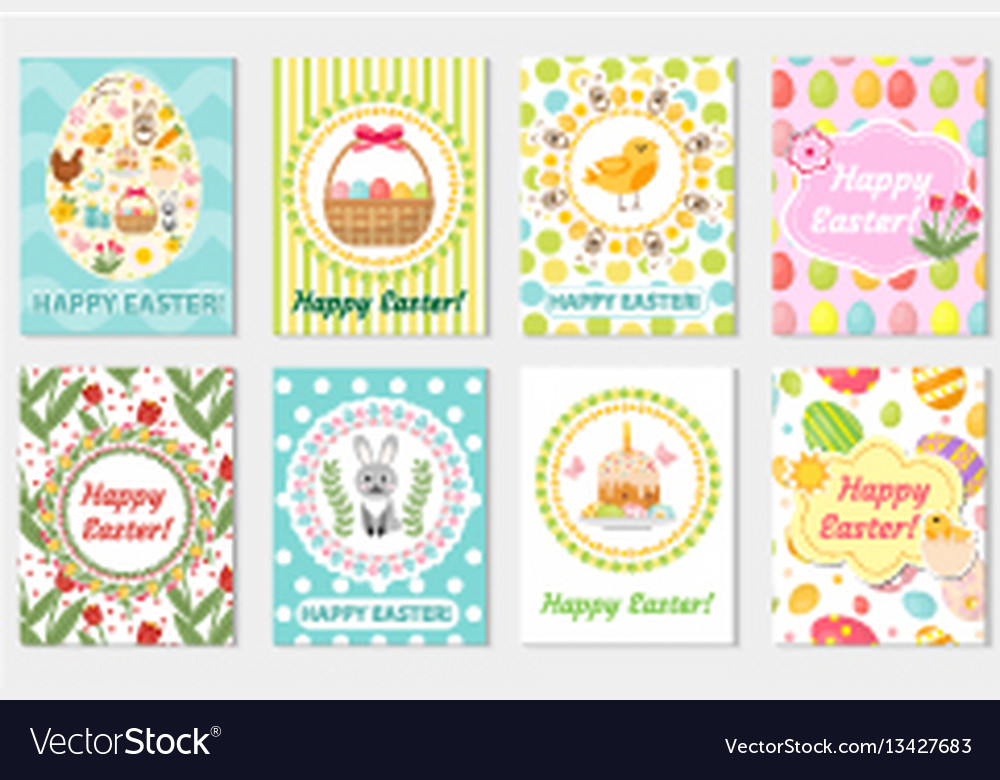 Happy easter greeting card collection flyer vector image m4hsunfo