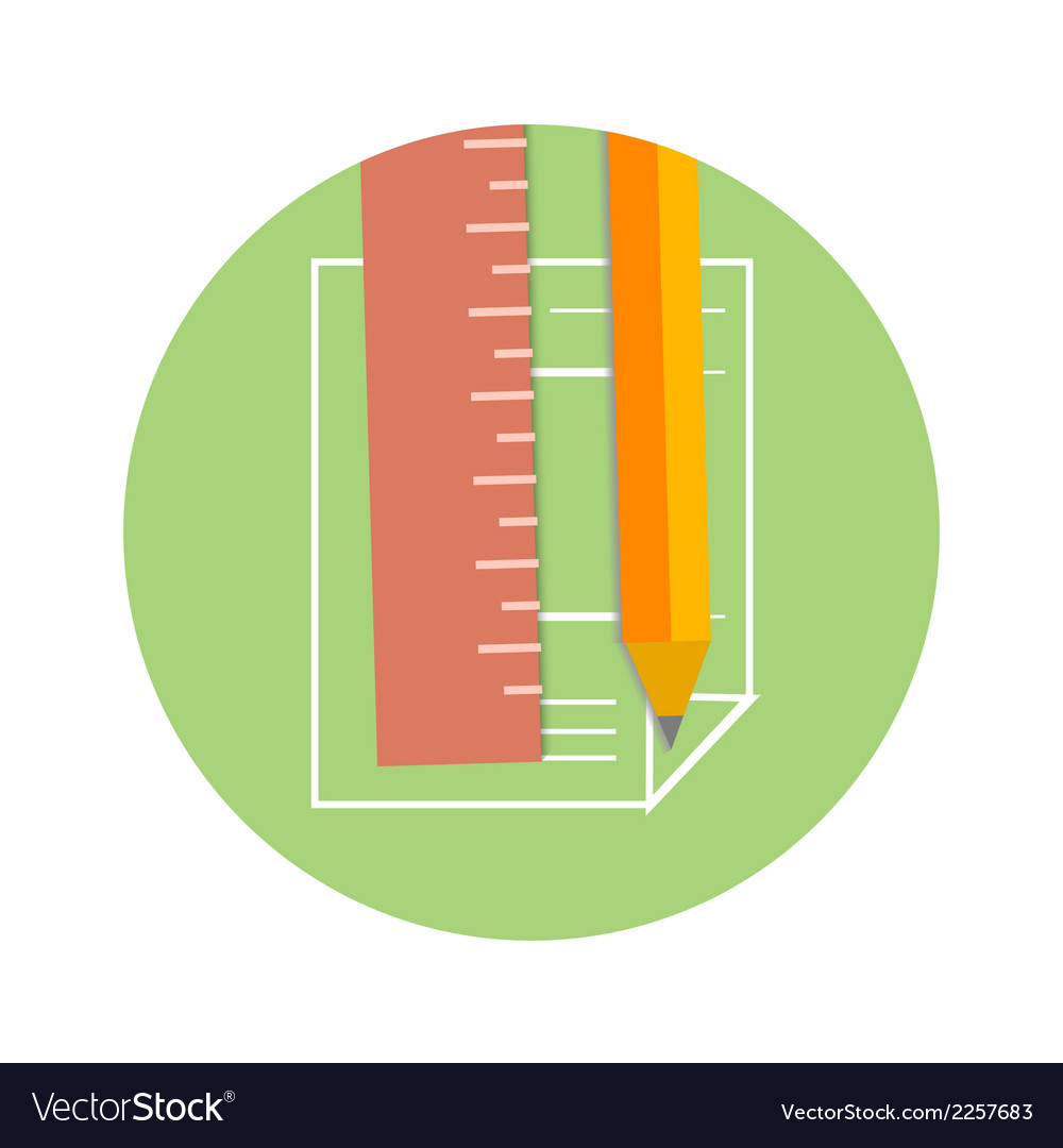 Pencil and ruler icon on a page