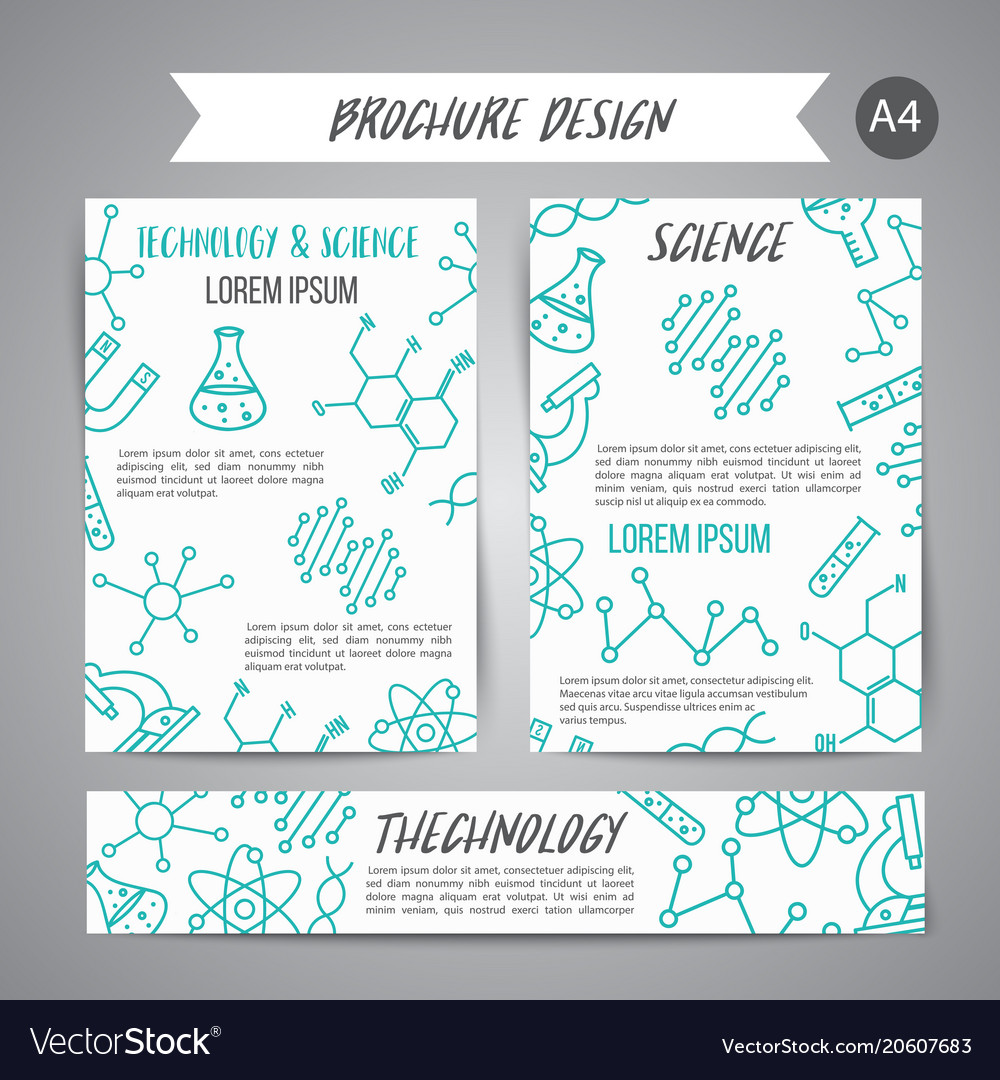 Science banners set research outline icon tiny vector image