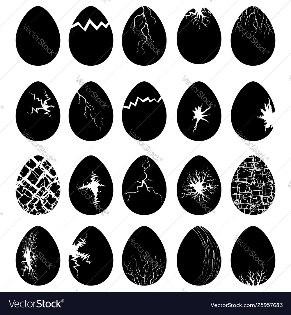 Set egg silhouettes with crack