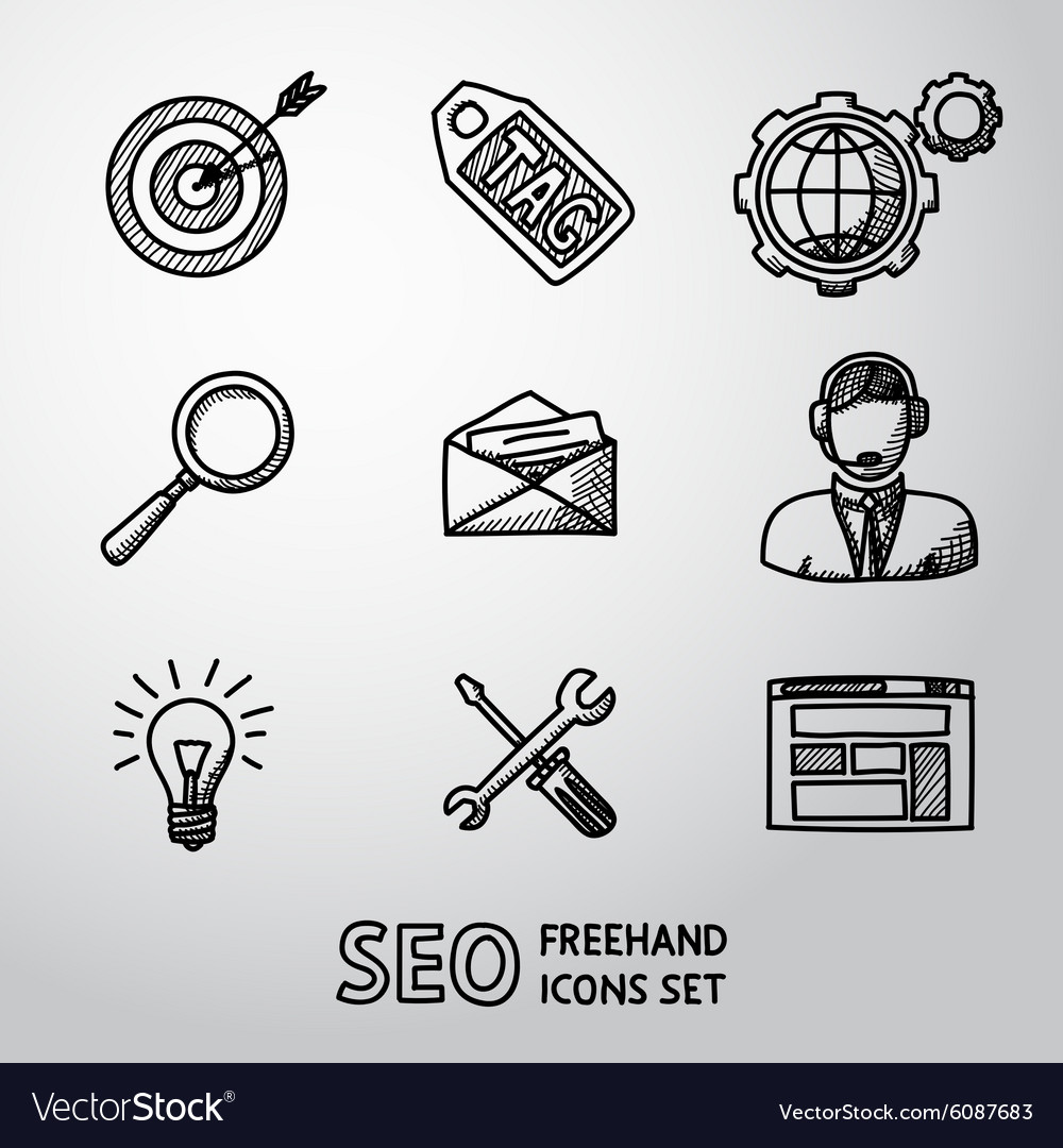 Set of SEO handdrawn icons - target with arrow