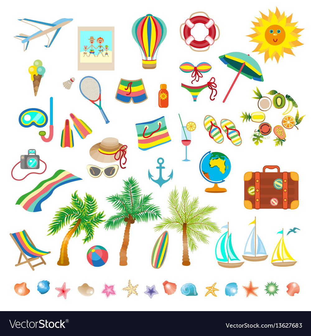 Summer beach set of icons