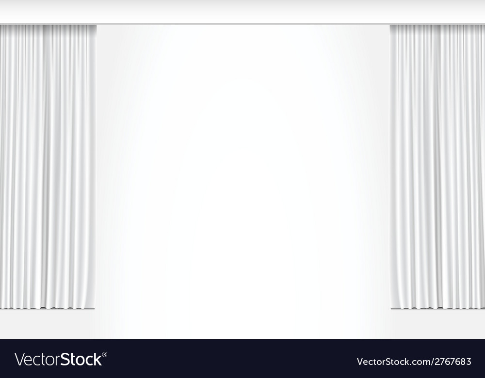 White Curtains Isolated on White Background Vector Image
