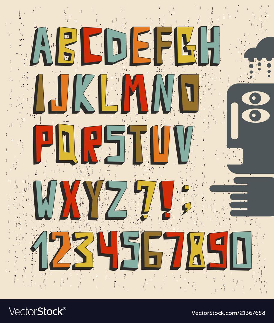 3d alphabet in hand drawn stile