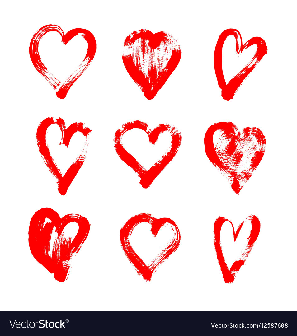 Brush stroke sketch drawing of hearts shape set to