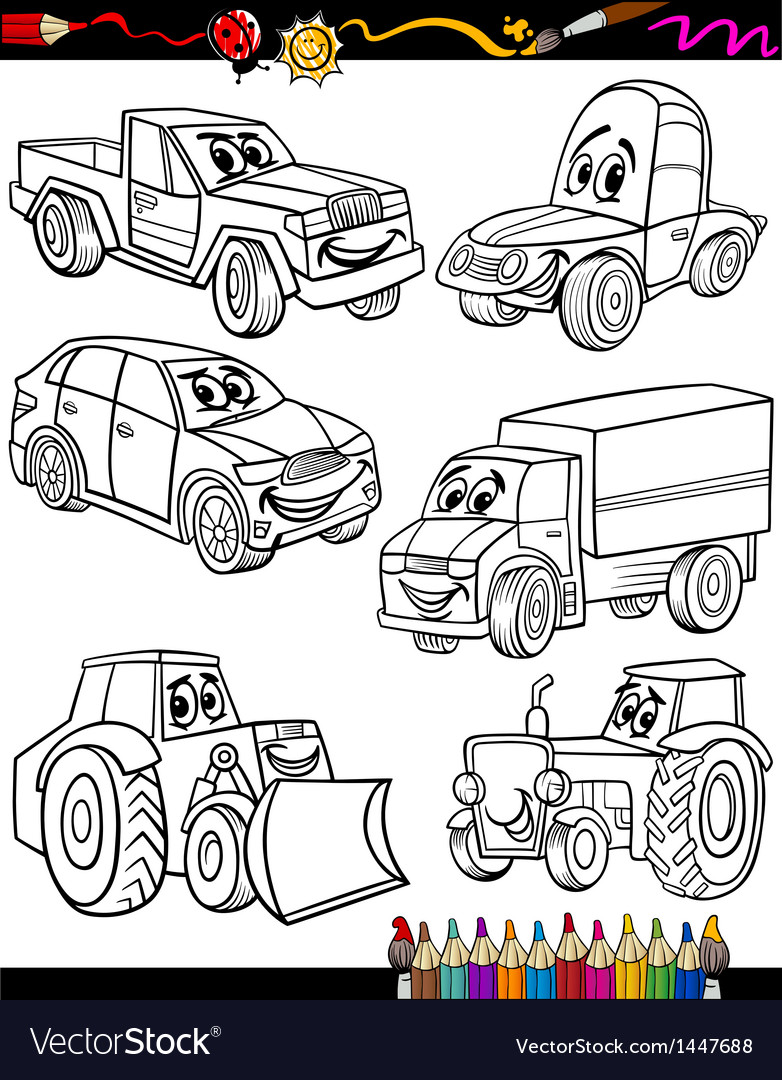 Cartoon Vehicles Set For Coloring Book Royalty Free Vector