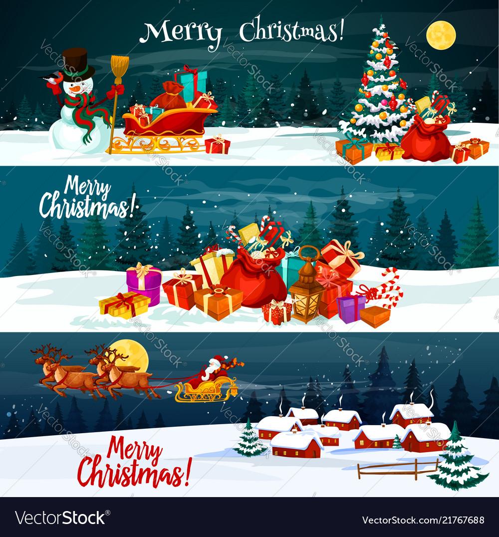 Christmas holiday santa gift banners