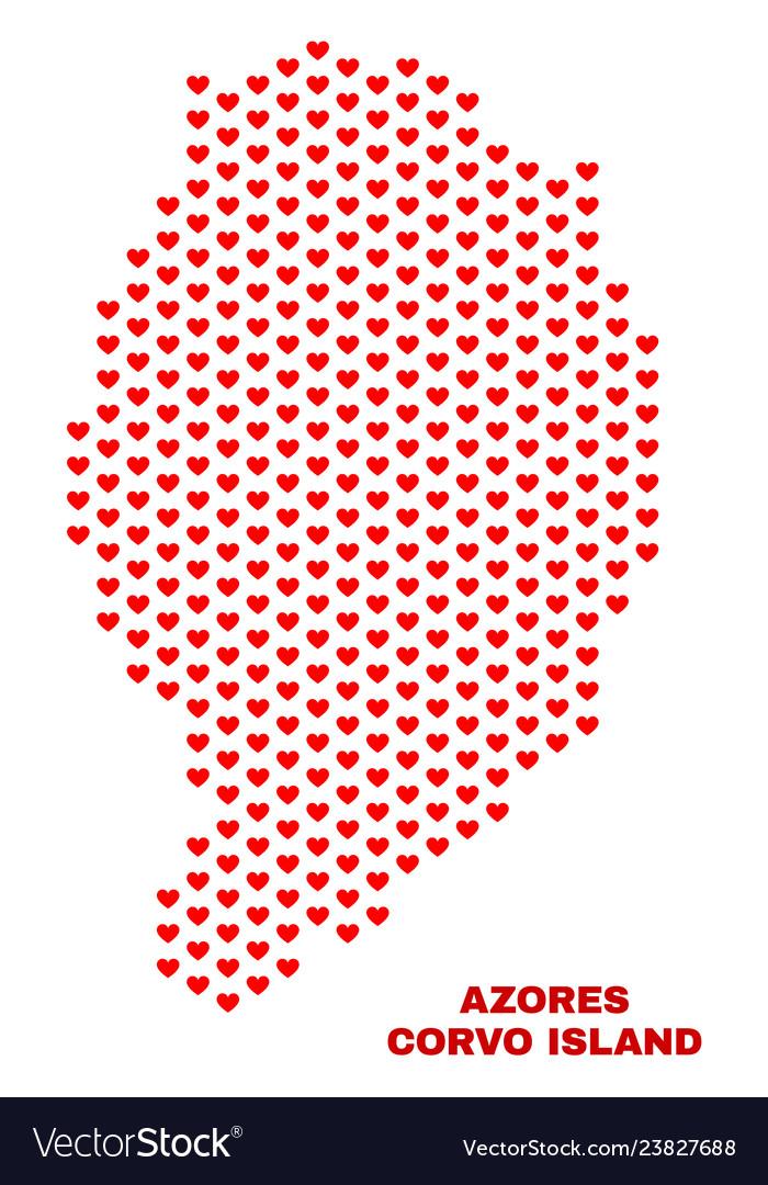 Corvo island map - mosaic of love hearts
