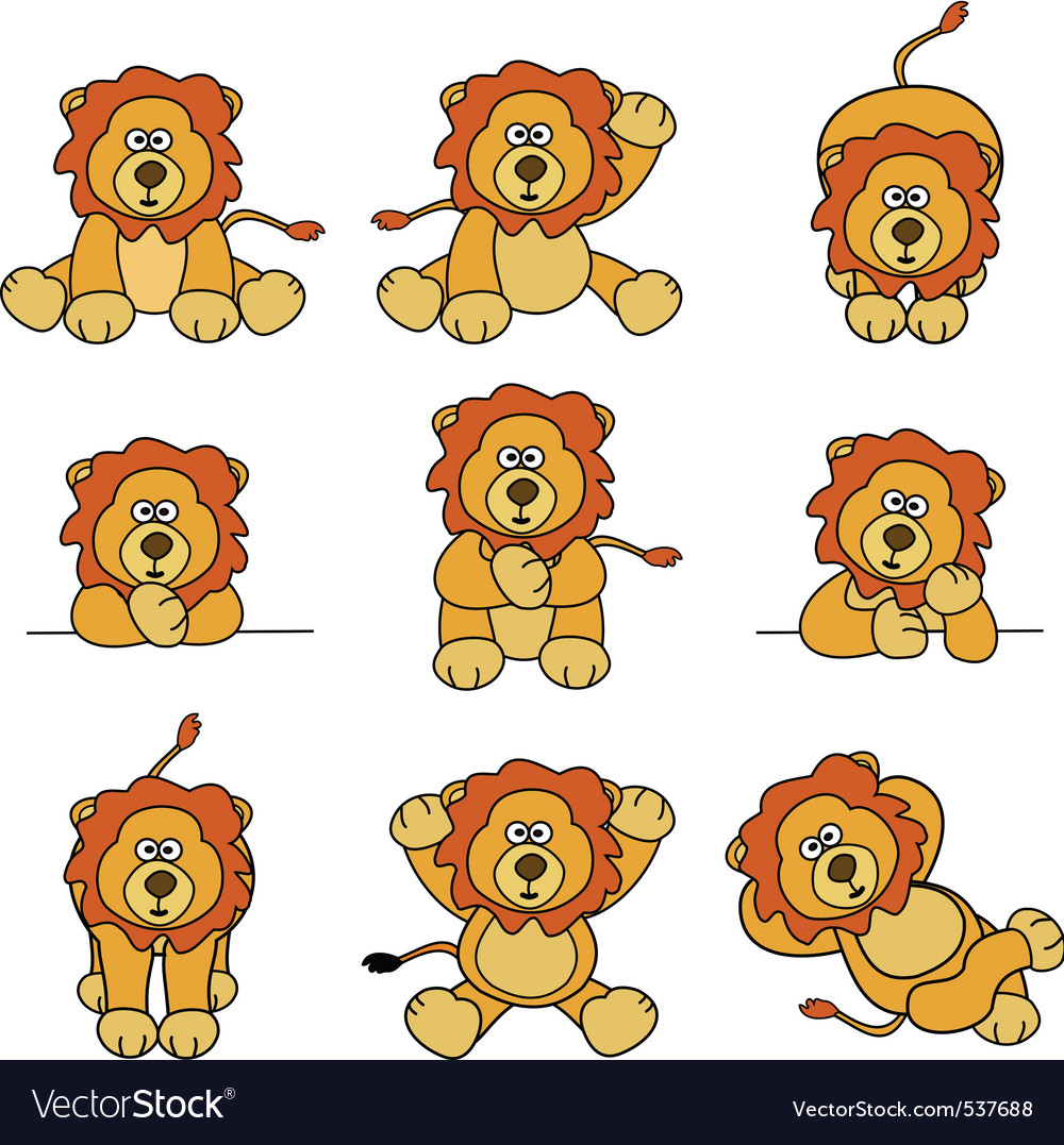 Cute lion set vector image