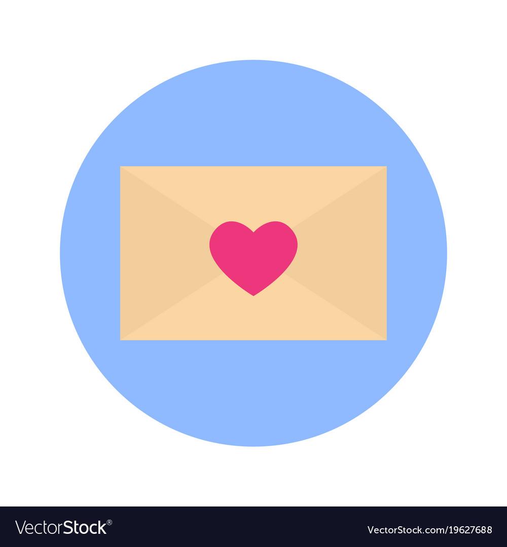 Envelope heart shape icon on blue round background