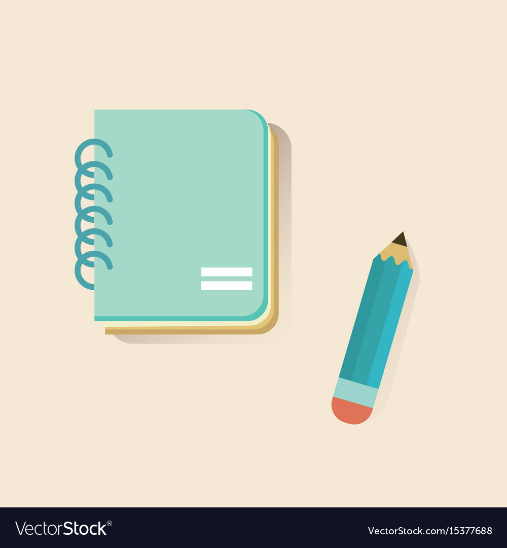 Flat notebook and pencil on soft color background