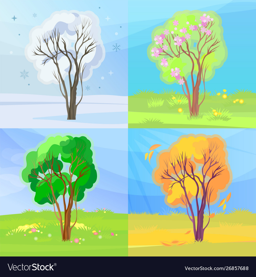 Four seasons banners winter spring summer and