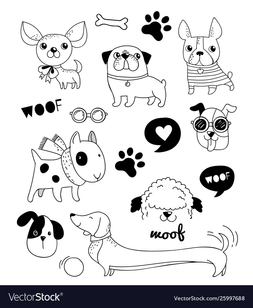 Funny dogs puppies doodles sketches and