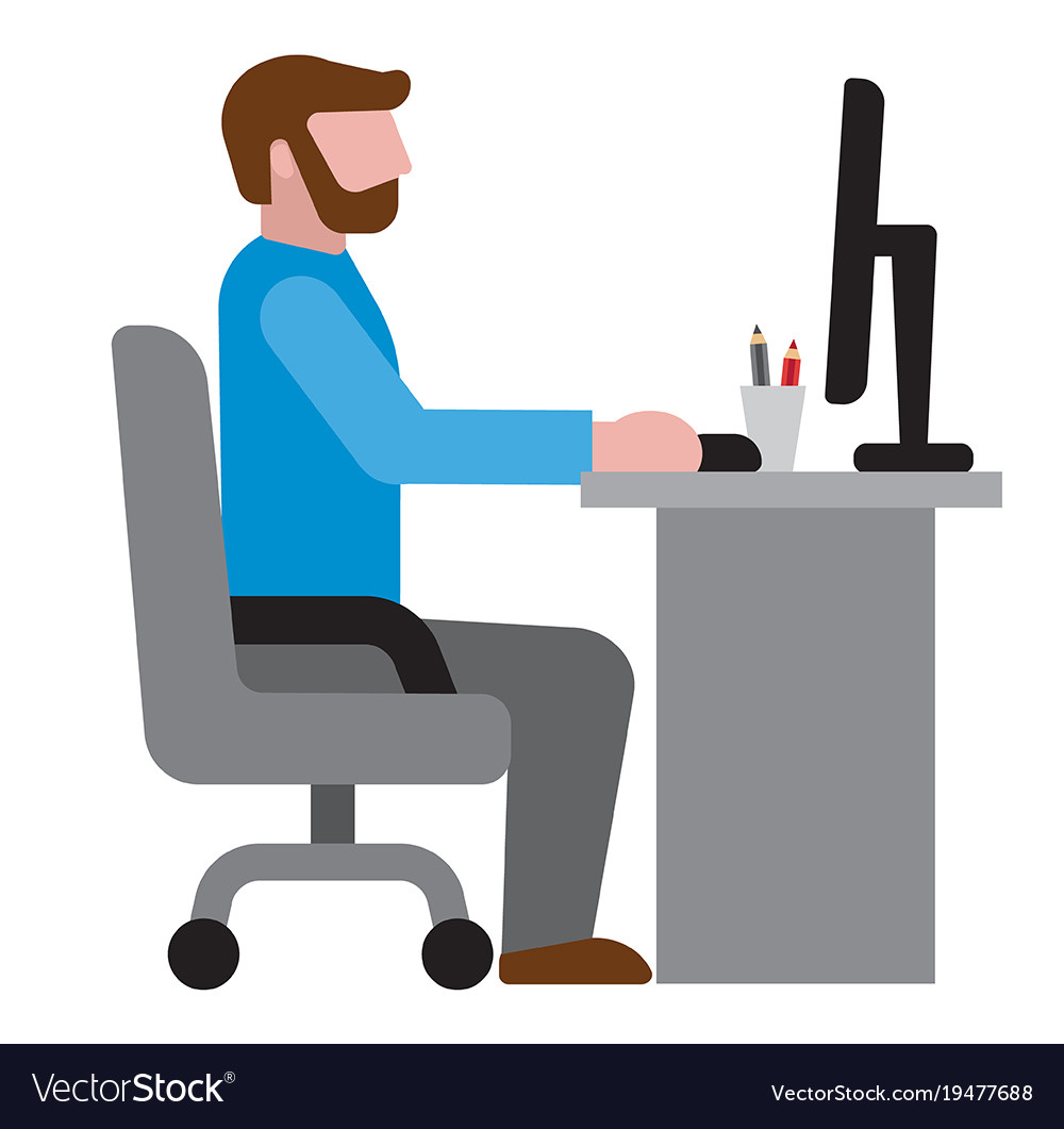 Man In Office Workplace Icon Royalty Free Vector Image