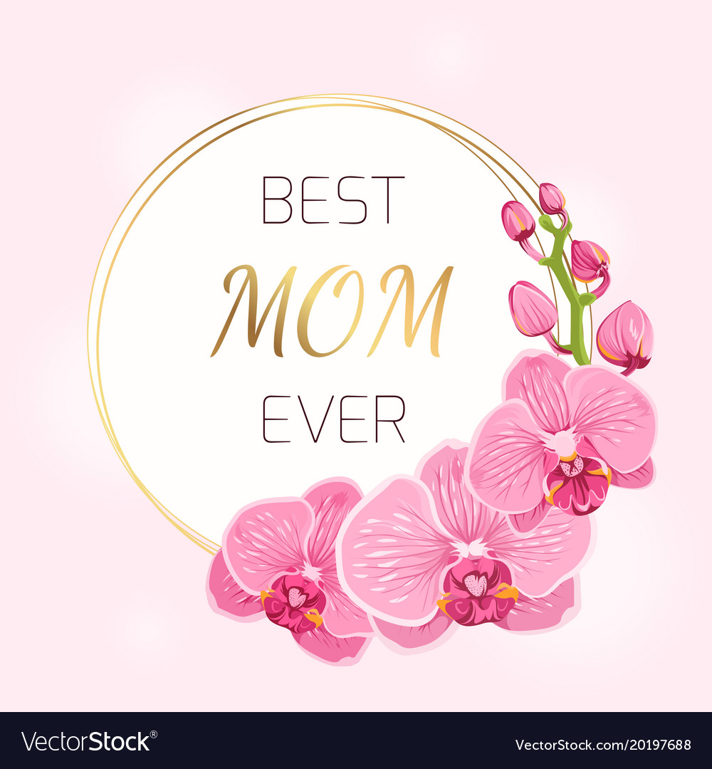 Mothers Day Card Pink Orchid Flowers Wreath Spring
