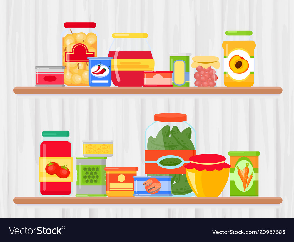 Shelf in grocery store with