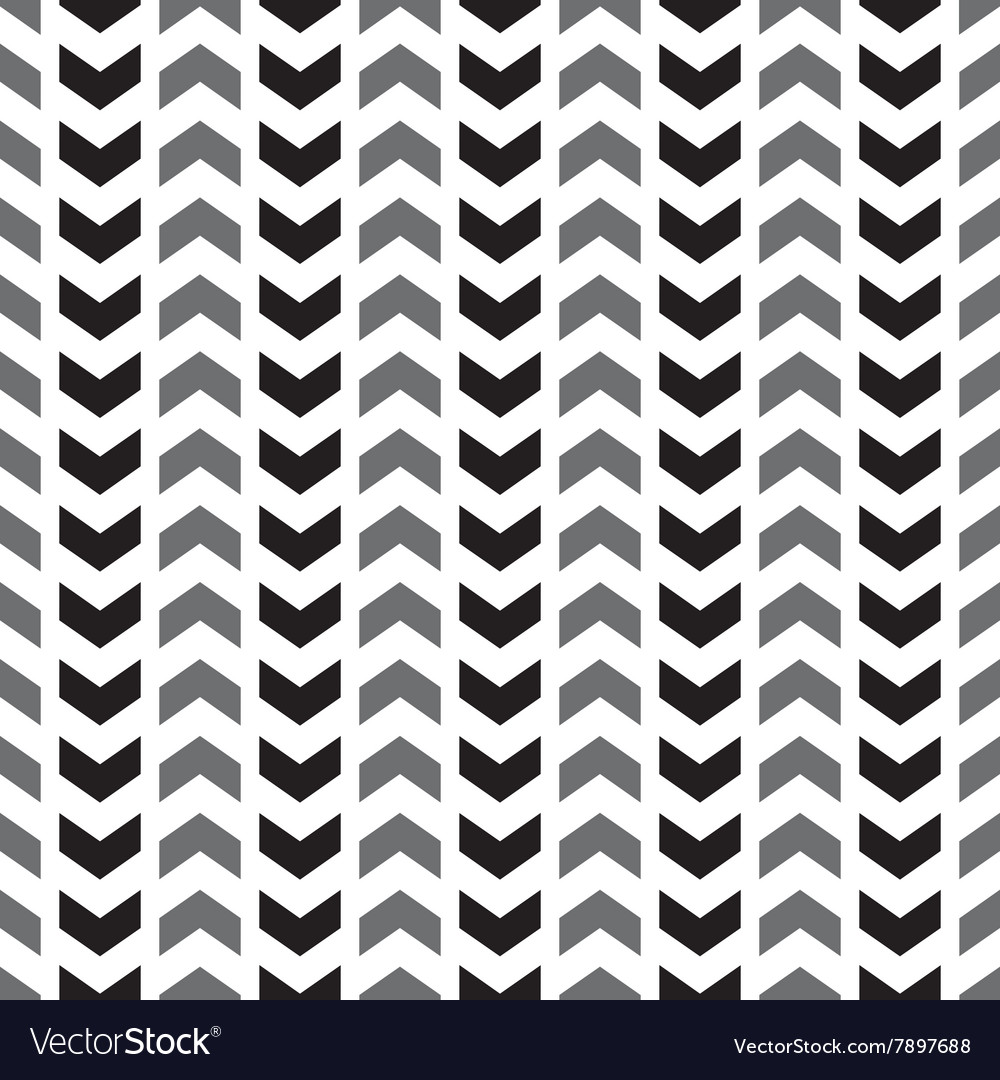 Tile pattern with grey and black arrows on white