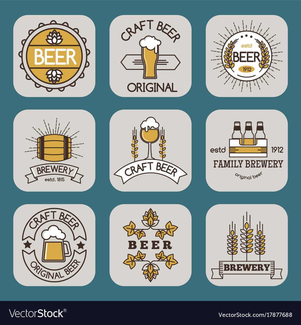 Vintage Craft Beer Retro Logo Badge Design Emblems