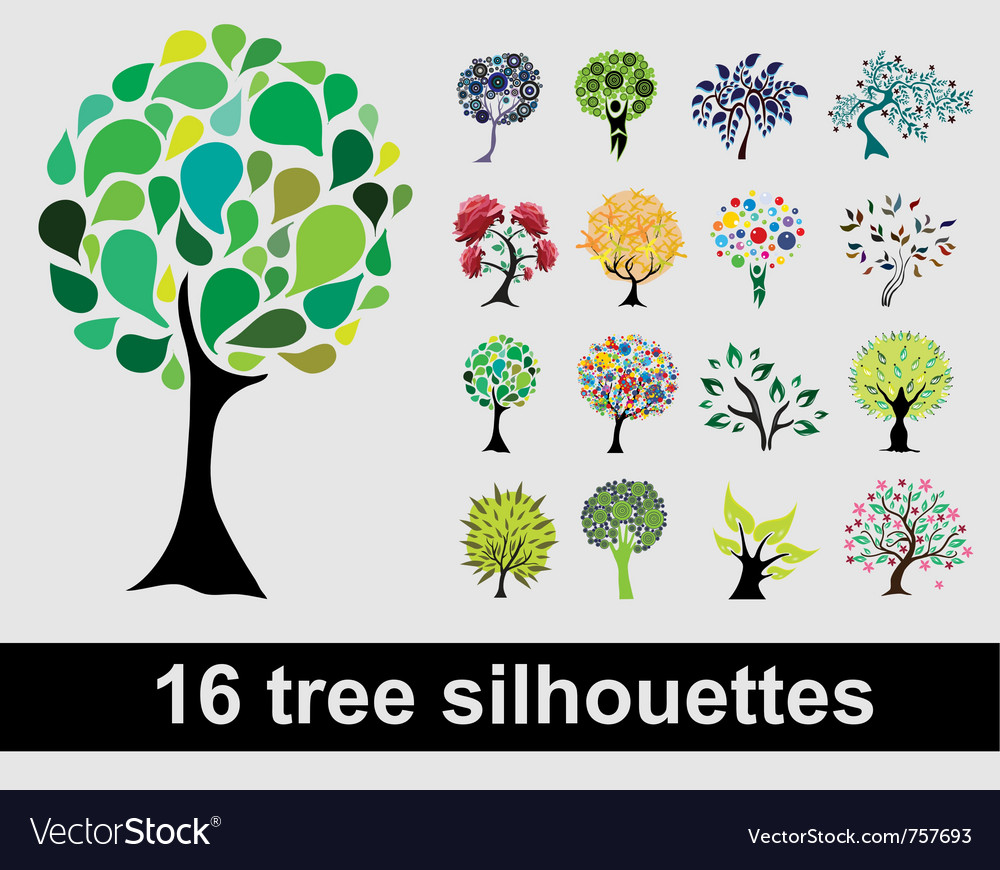 16 tree silhouettes