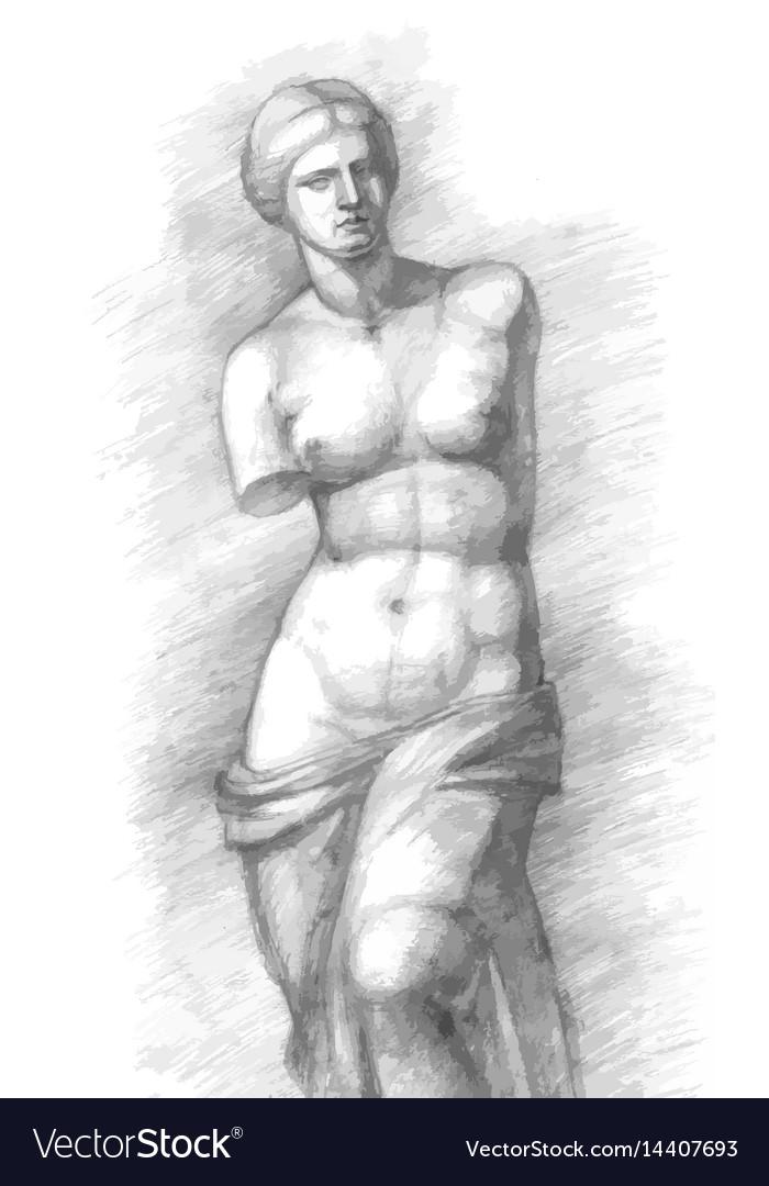 Aphrodite of milos - venus - vintage vector image