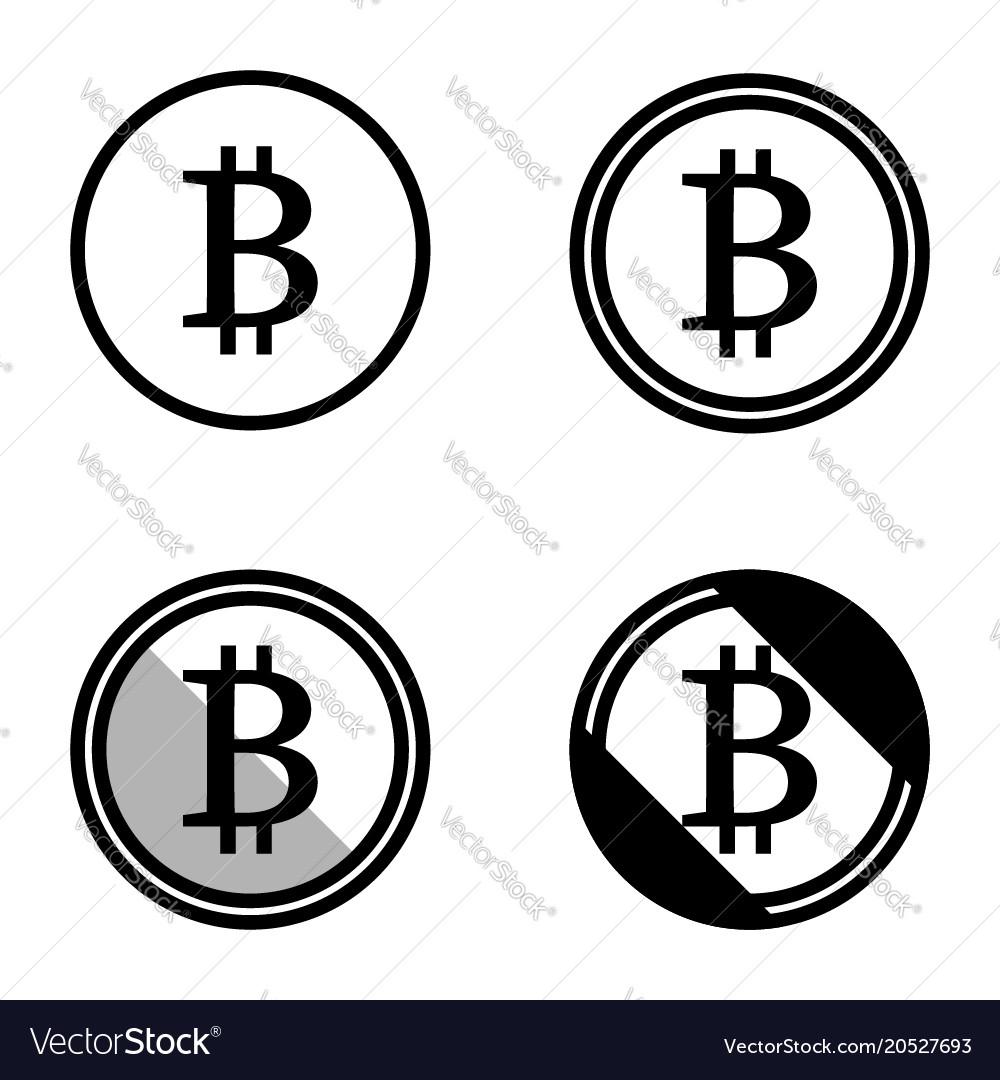 Bitcoin symbols icons logos black and white set