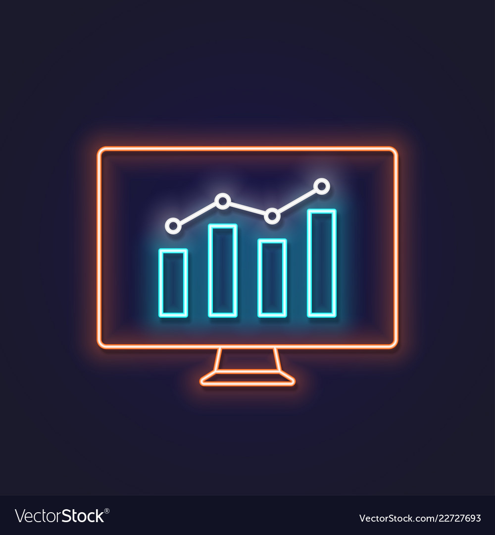 Business graph neon sign pc monitor with graphic
