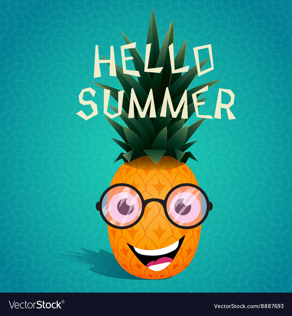 Cheerful pineapple in the sunglasses