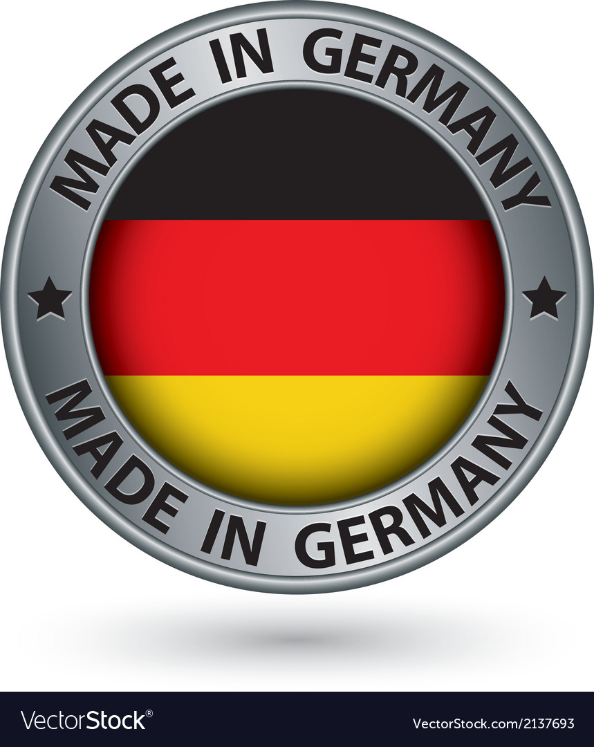 Made in Germany silver label with flag