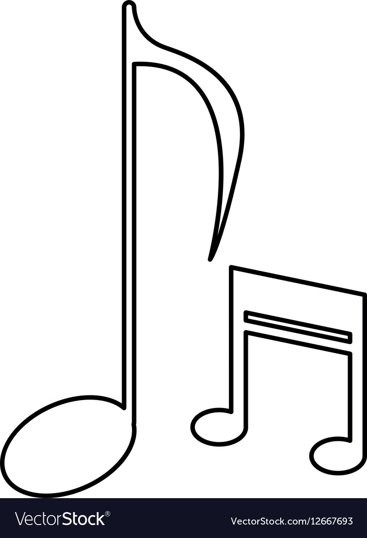 Music note sound melody symbol outline vector image