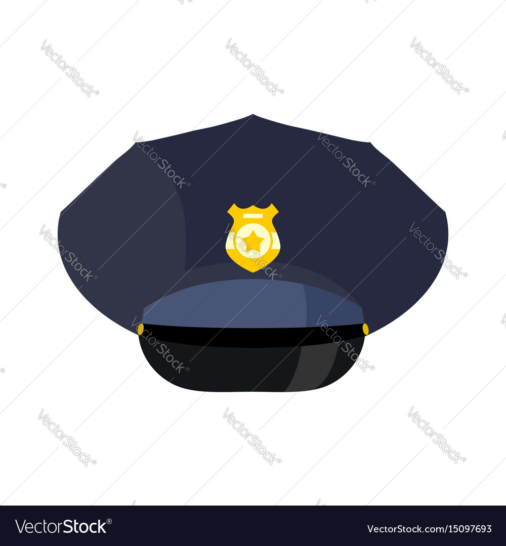 Police cap isolated hat cop officer accessory vector image