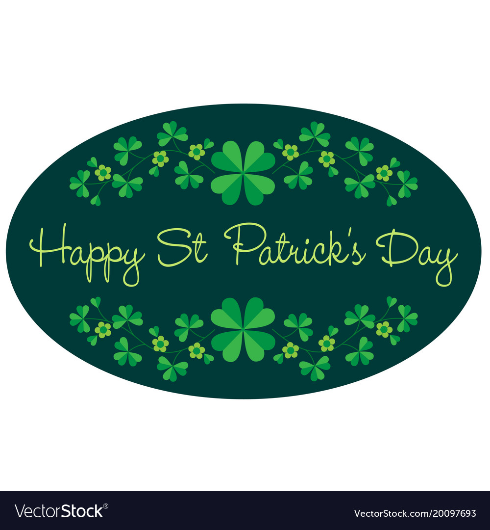 Saint patricks day graphic oval frame with border