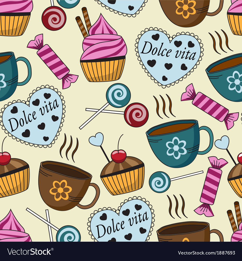 Seamless pattern with sweets and cups