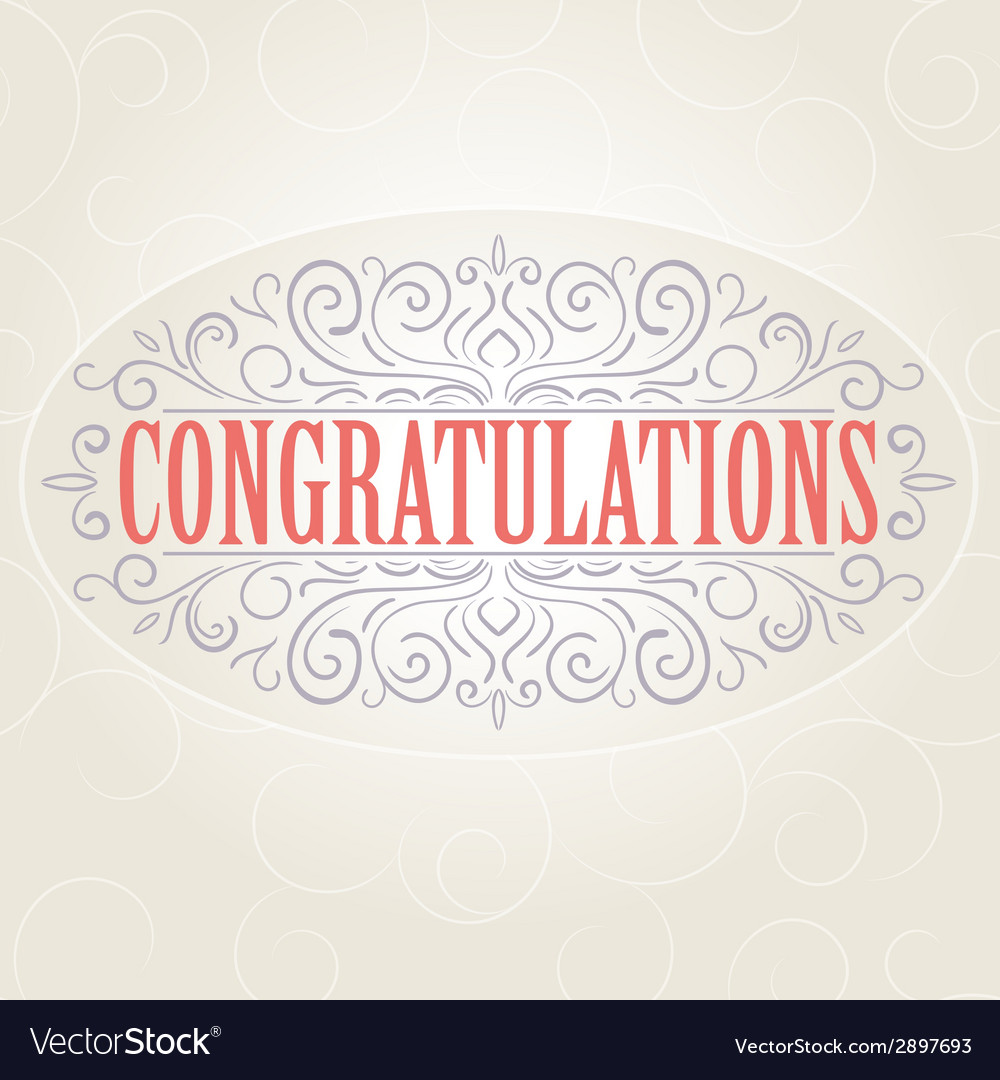 vintage congratulations card royalty free vector image