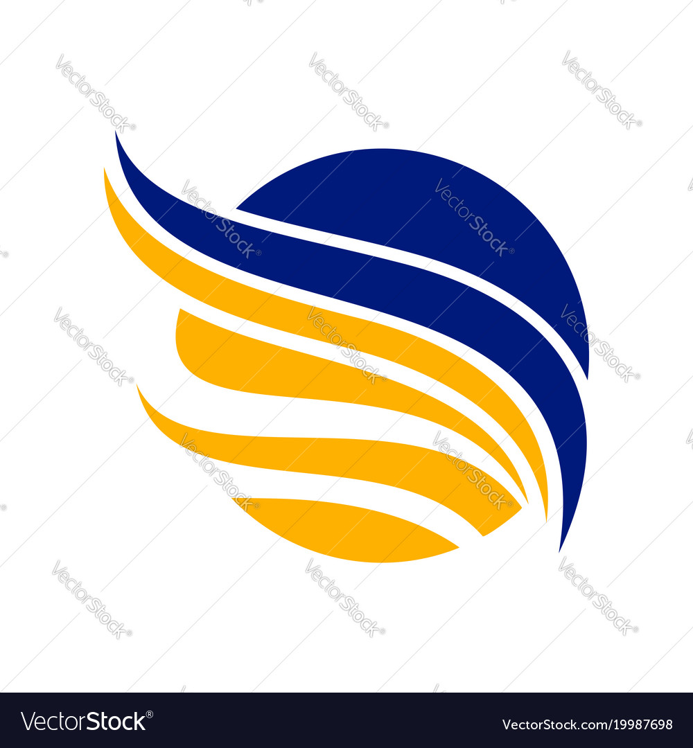 Abstract circled blue yellow wing symbol design