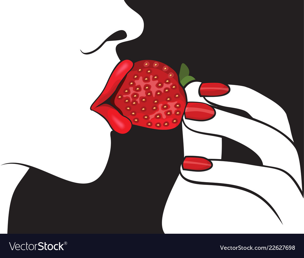 Beautiful woman with red lips eating strawberry