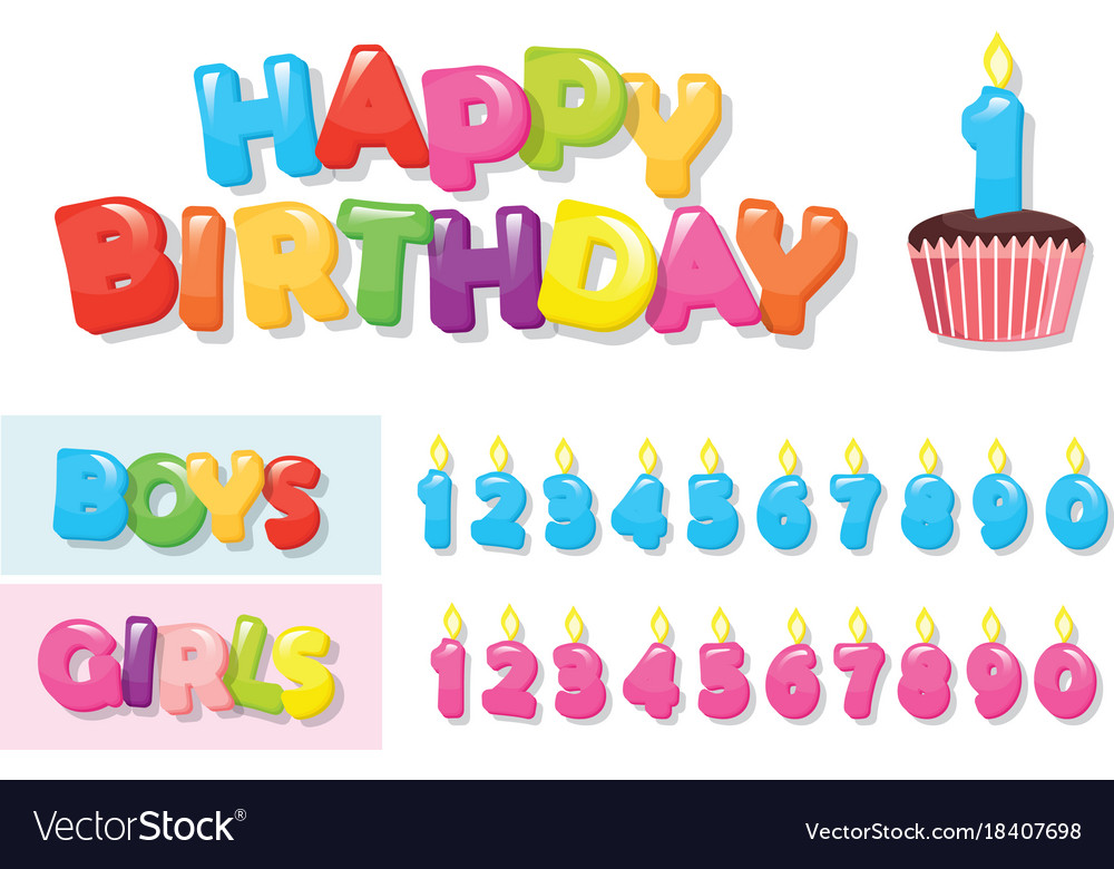 Birthday stickers set colorful letters cupcake