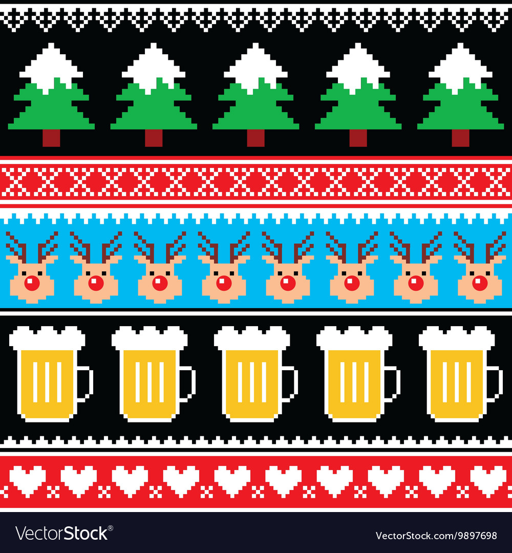 Christmas jumper pattern with beer