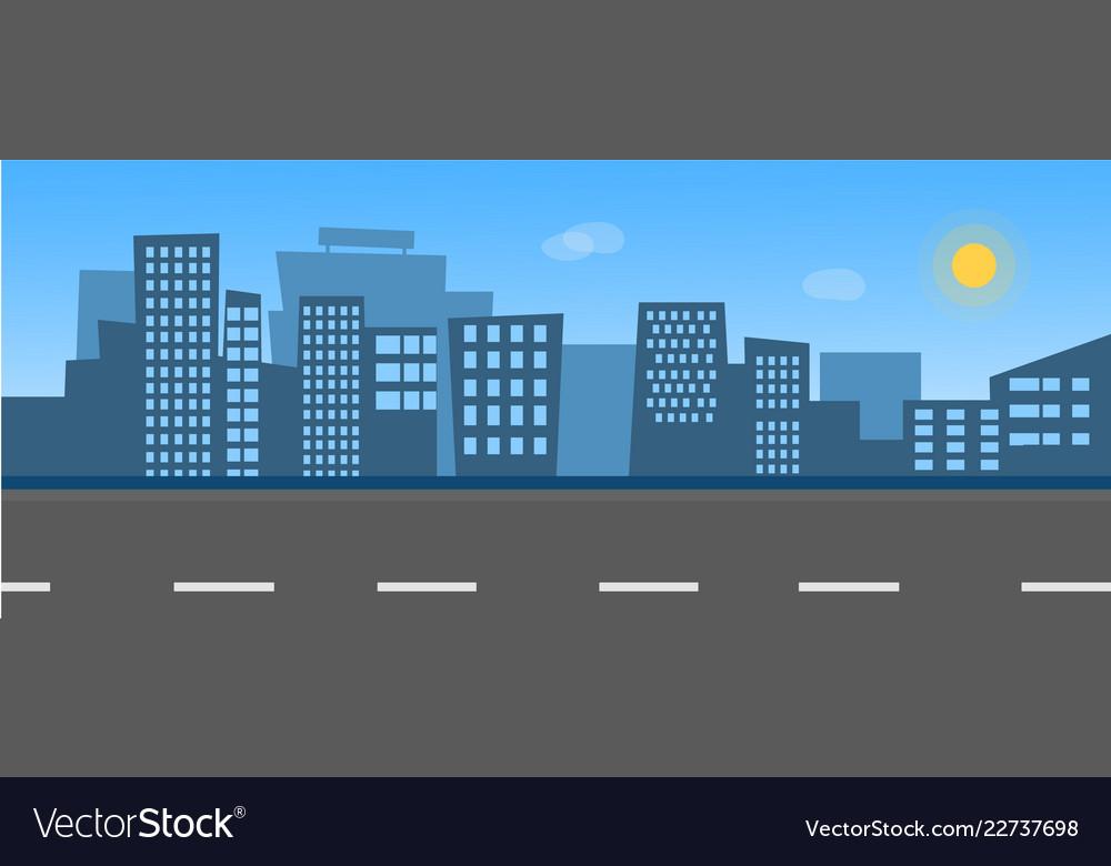 City skyline with street