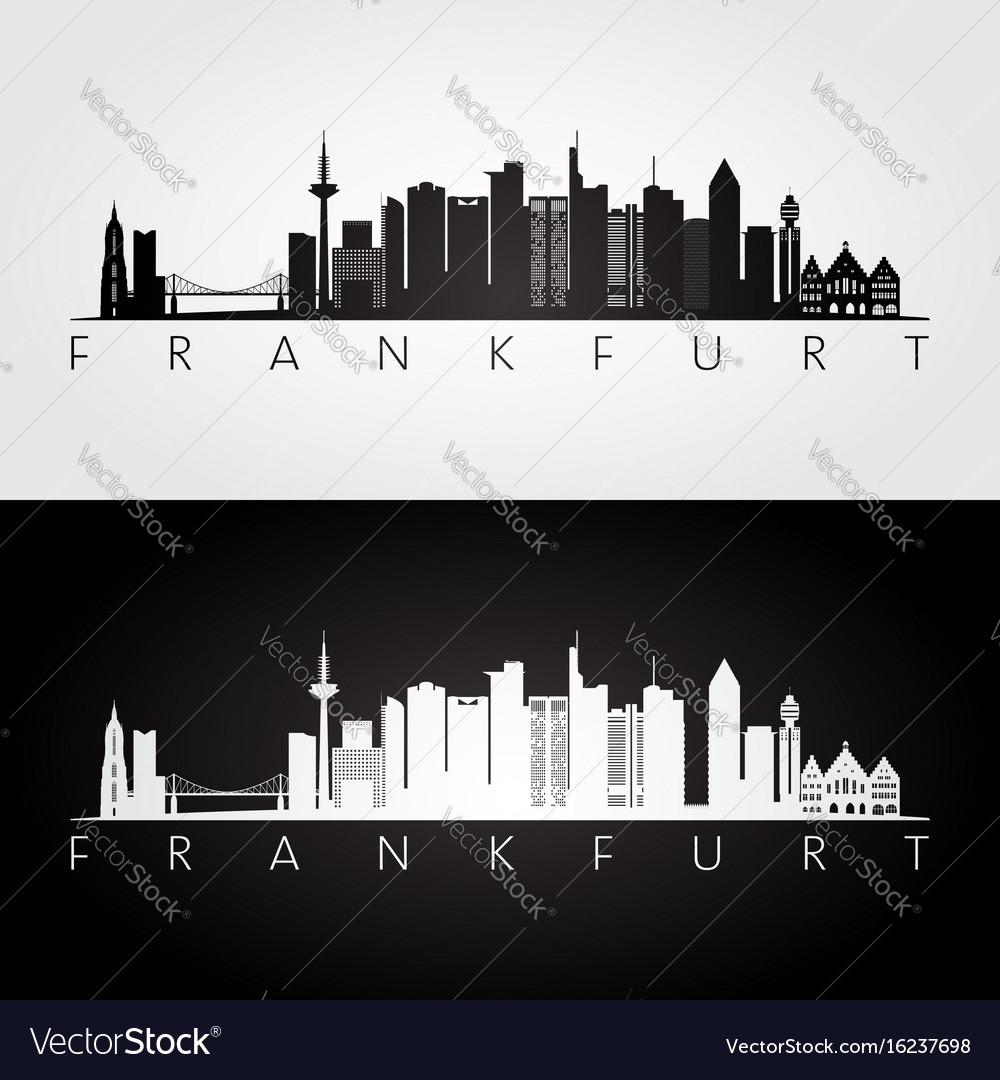 Frankfurt skyline and landmarks silhouette vector image for Graphic design frankfurt