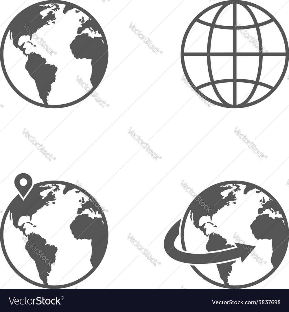 Globe earth icons set isolated on white background
