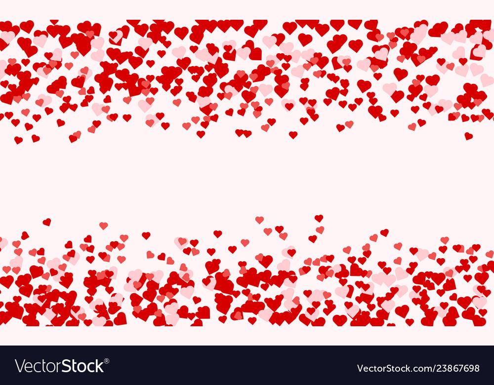 Heart confetti of valentines petals falling