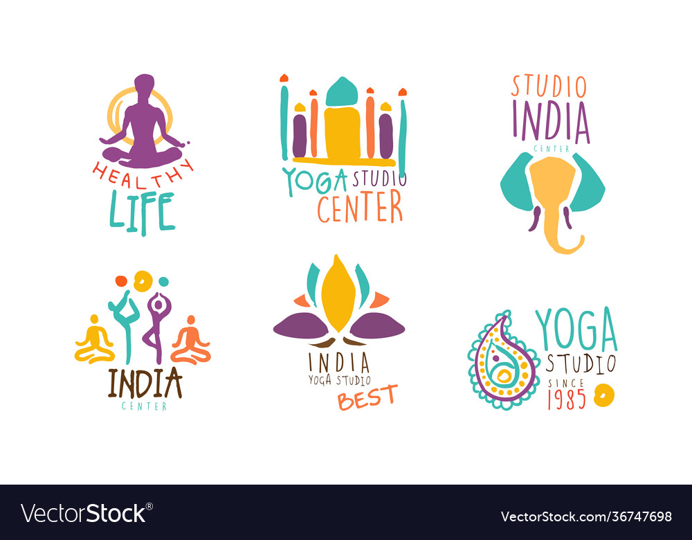 India yoga studio center logo design set sport