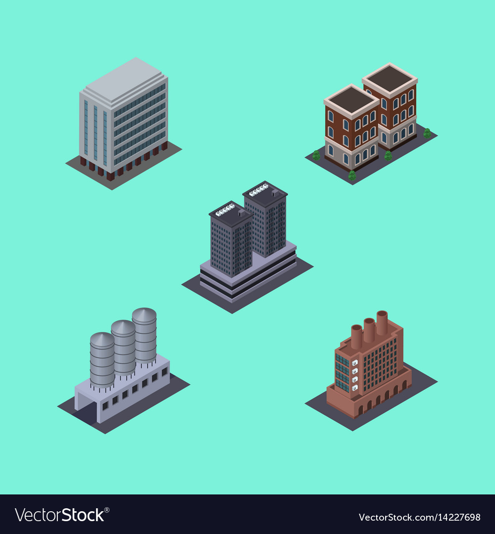 Isometric building set of tower house water vector image