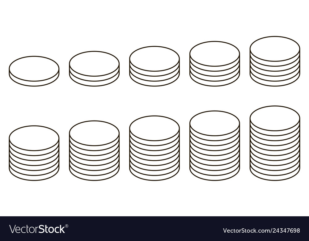 Set icon stack coins icon stack coins