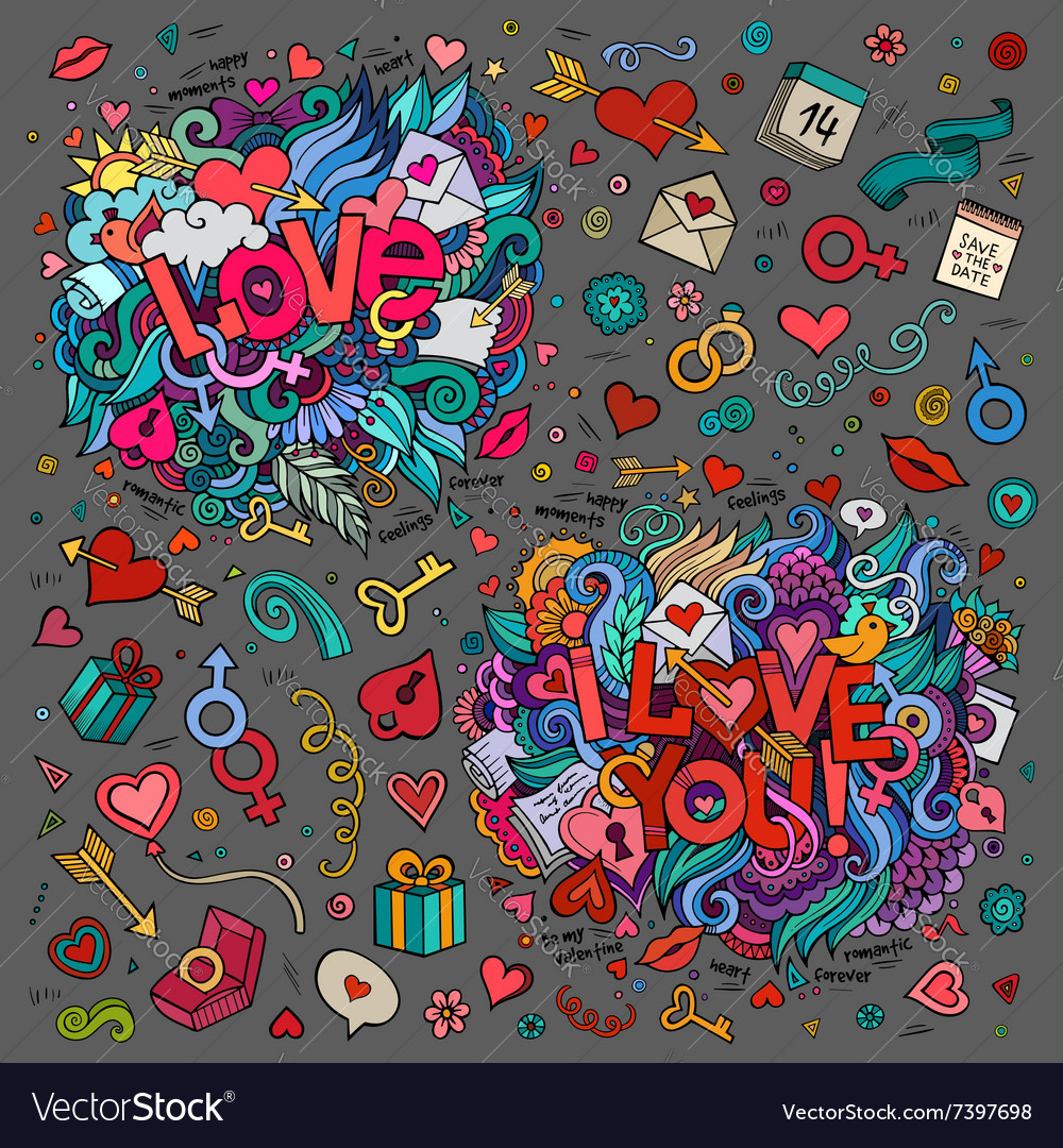 Set of Love and I Love You hand lettering and vector image