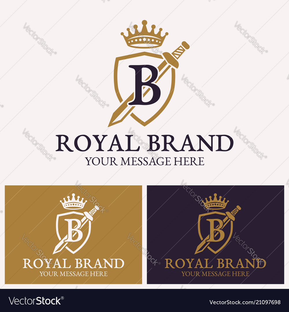 Shield and sword with crown logo template