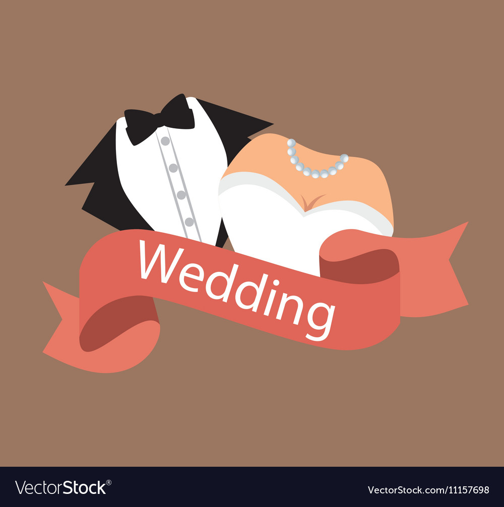 Suit and bridal gown wedding design graphic vector image